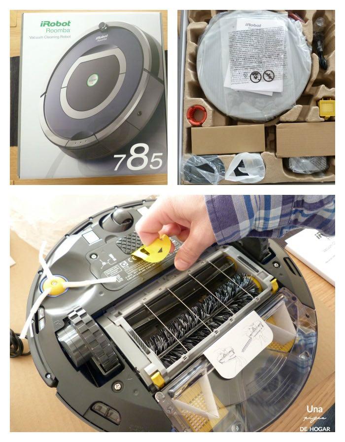 Roomba 785 caja, accesorios, filtros, proceso de iniciación