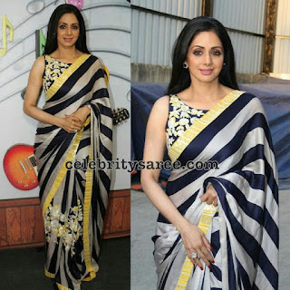 श्रीदेवी मोनोक्रोम स्ट्राइप ब्लैक एंड व्हाइट सरी, Sridevi in stripe monochrome saree