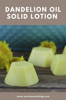 How to make lotion bars diy three ingredients. These easy lotion bars are made with dandelion oil, beeswax, and shea butter. DIY solid lotion for dry skin.  Dandelion oil benefits for your skin help relieve dry skin or eczema.  This is the best solid lotion for dry skin.  How to make a hard lotion or solid lotion.  #solidlotion #lotion #dandelion