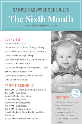 This post gives sample schedule Babywise schedules for the sixth month. The sixth month of baby's life comprises weeks 22-26. Baby is five months old.