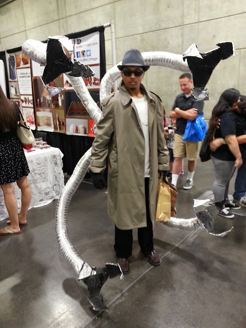 Young man wearing a costume resembling the character Doctor Octopus.
