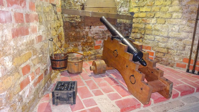 Cannon in the basement of Vilnius bastion.