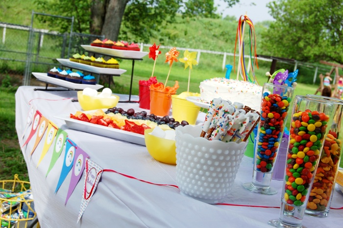 Rainbow Birthday Party Desserts Tables