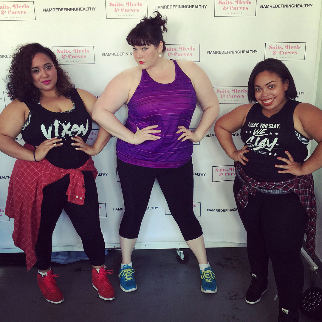 Plus Size Blogger Amber from Style Plus Curves with Jessie Diaz, Vixen Instructor during FFFweek Redefining Healthy Panel