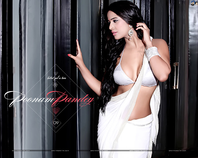 Beautiful Poonam Pandey in White saree