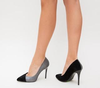 Pantofi negri cu gri eleganti de ocazii cu toc inalt eleganti ieftini