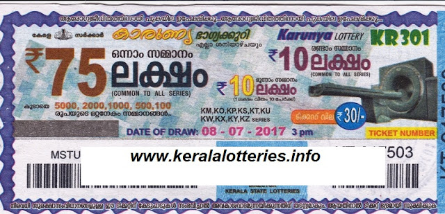 Karunya (KR-301)_Kerala Lottery Result Today