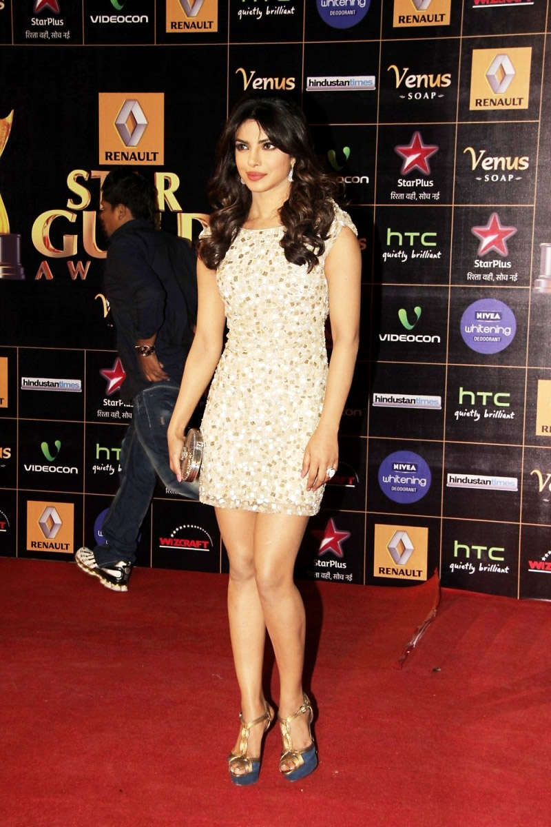 Actress Priyanka Chopra Long Legs Stills In White Dress