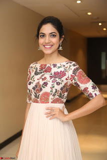Ritu Varma smiling face Cream Anarkali dress at launch of OPPO New Selfie Camera F3 ~  Exclusive 081.JPG
