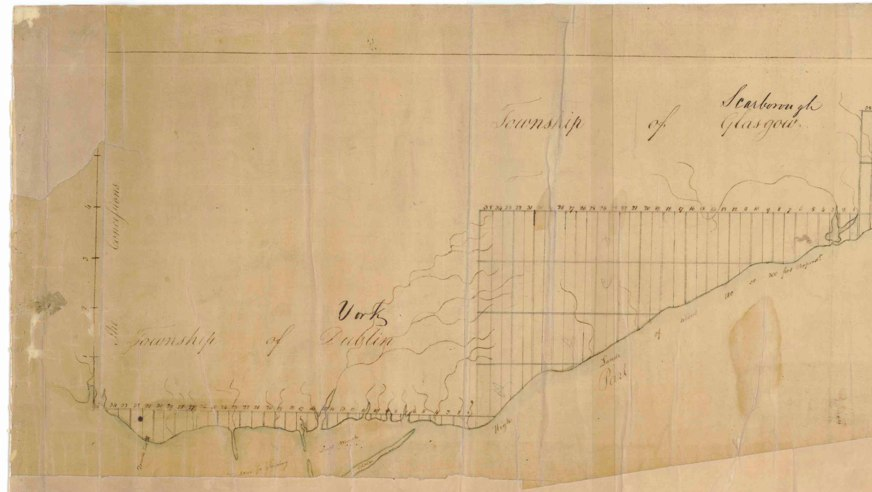 An Accurate Plan of a Survey [from] the River Trent, North [Shore] of Lake Ontario to Toronto by Augustus Jones, 1791