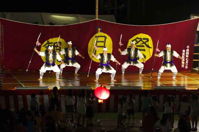 dancers, festival, Okinawa, spears