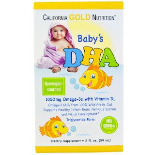 المنتج الثاني : زيت السمك اوكيجا 3 مع فيتامين دي (D) California Gold Nutrition, Baby's DHA, 2 fl oz (59 ml)