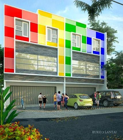 konsep ruko 3 lantai minimalis desain 3d 2d bahan imb