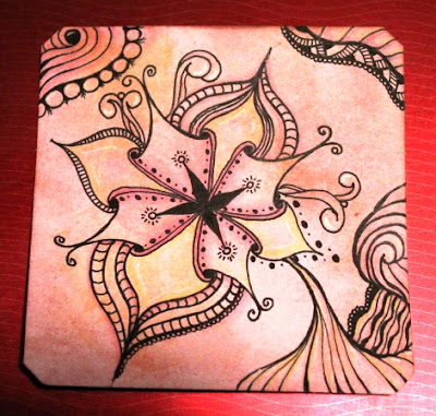 Stella Zentangle on Distress ink background