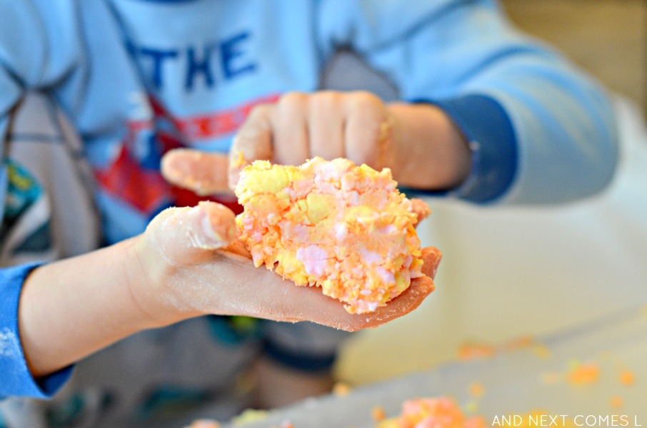 Messy sensory play for toddlers and preschoolers with citrus scented easy dough from And Next Comes L