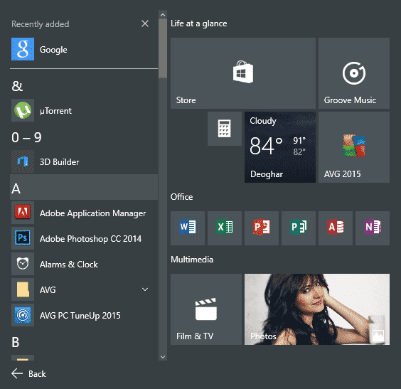 Easily Navigate All Apps List in Windows 10 Start Menu