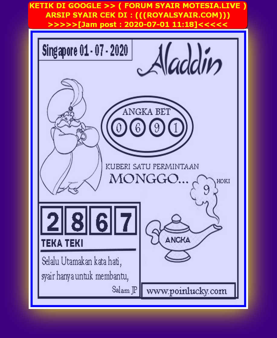 Kode syair Singapore Rabu 1 Juli 2020 172