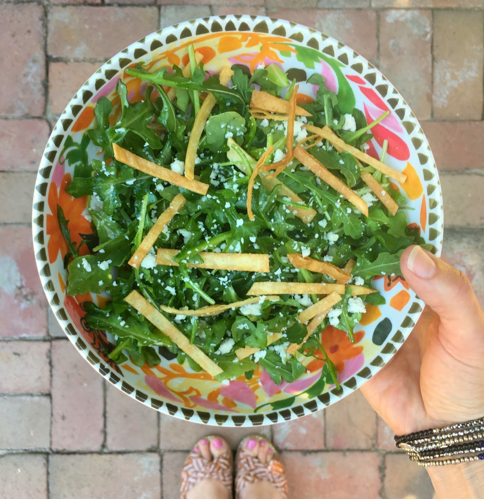 Arugula Salad Within Lime Dressing 5 Oz Arugula 1 4 Cup Crumbled Cotija Cheese Crispy Fried Tortillas For Topping I Usually Use 5 Small Corn