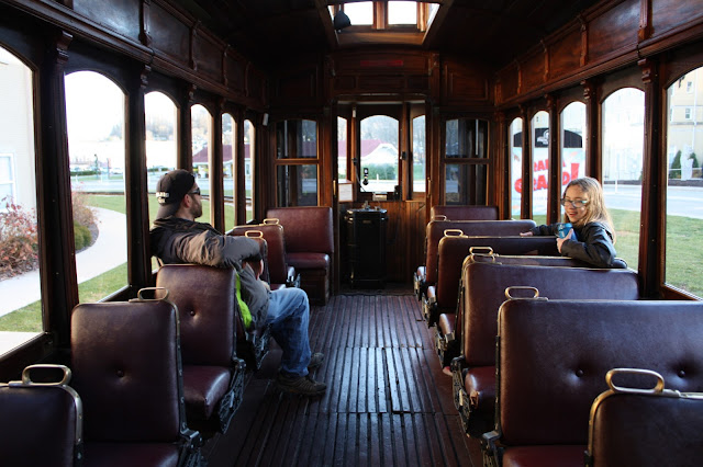 Inside the historic trolley at French Lick Resort in Indiana