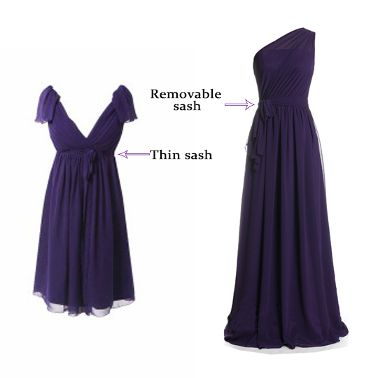bridesmaid dresses with dark sashes