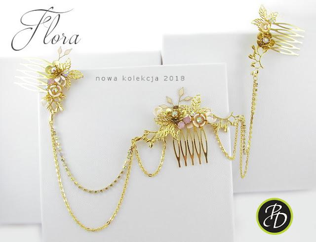 Złoty grzebień ślubny Flora