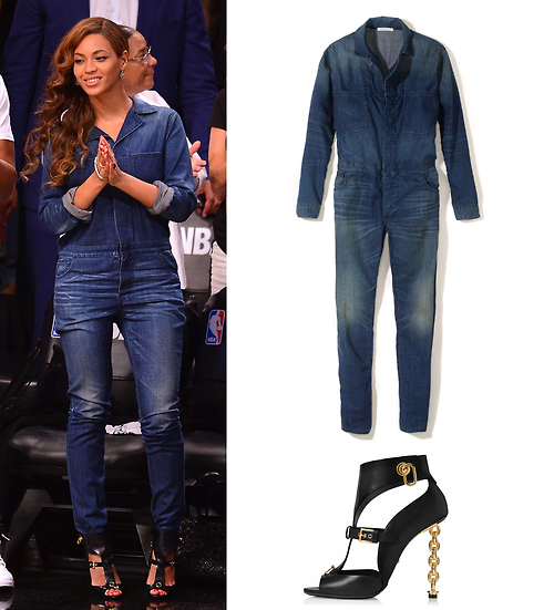 a994fd529bc4 Beyonce rockin her 6397 denim jumpsuit with a Tom Ford buckle chain heel  cut out sandals