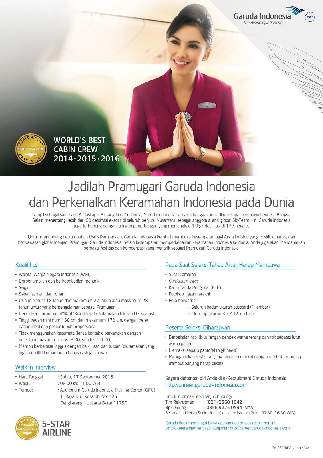 Lowongan Kerja dan Persyaratan Pramugari Garuda Indonesia