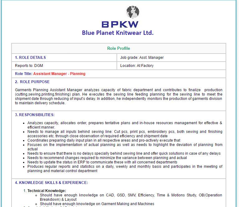 Blue Planet Knitwear Ltd  - Assistant Manager - Planning