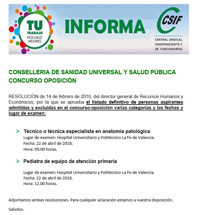 CSIF Torrevieja Salud: Listado definitivo admitidos y excluidos OPE ...