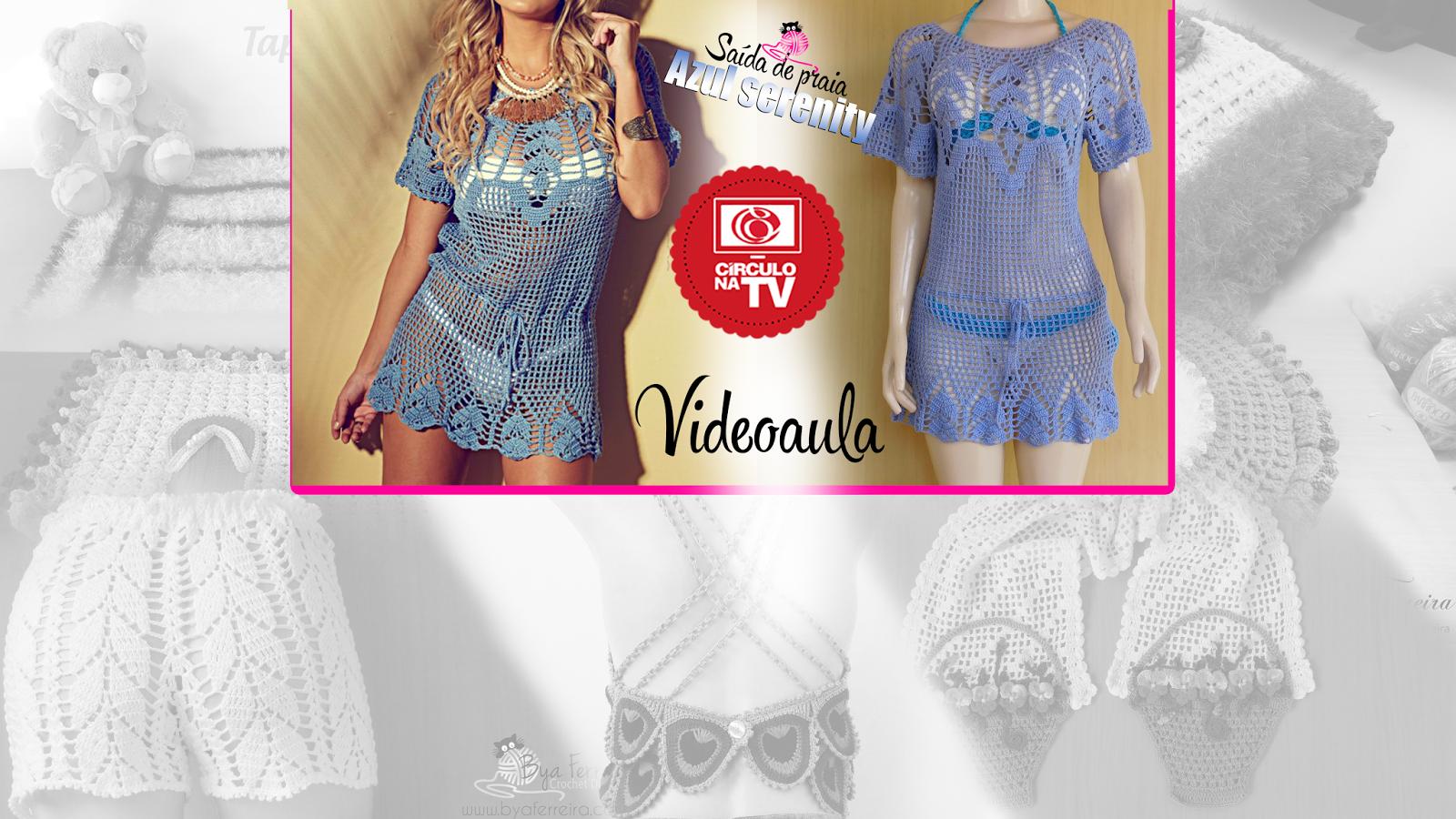 58d25fdef Bya Ferreira - Crochet Designer: Círculo na TV | Saída de praia Azul ...