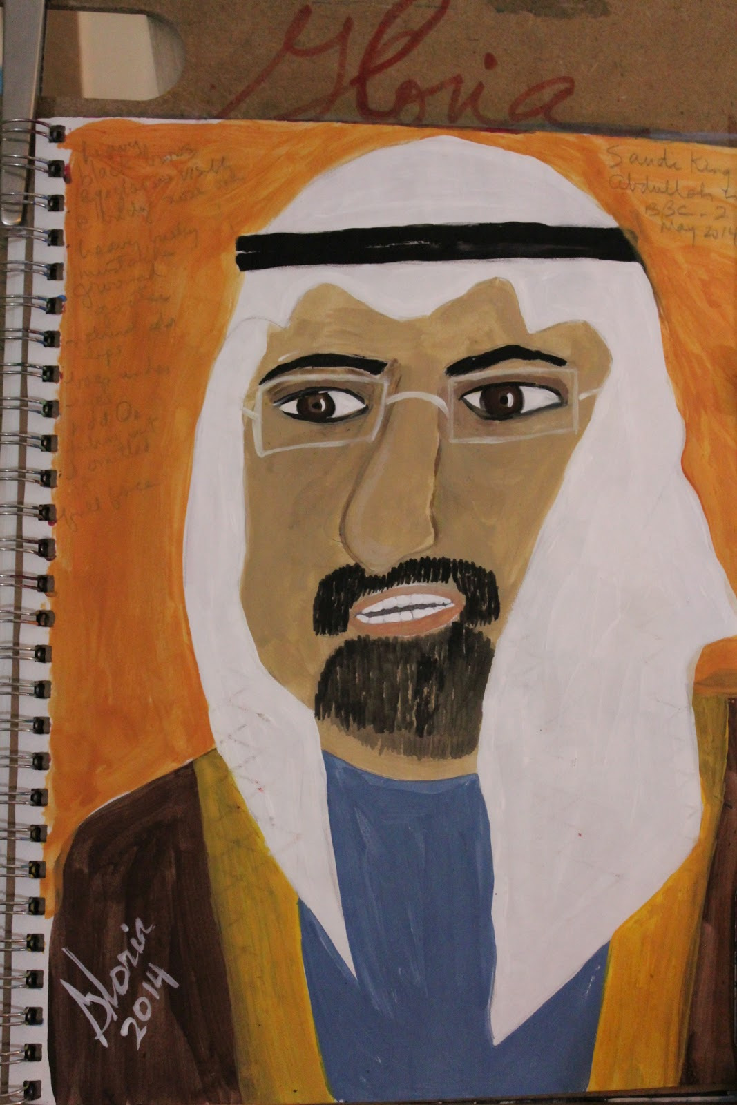 Saudi King Abdullah sketch by Gloria Poole of Missouri of Missouri 7-May-2014-acrylics