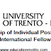 Individual Postdoctoral Research International Fellowships at University of Trento in Italy 2018