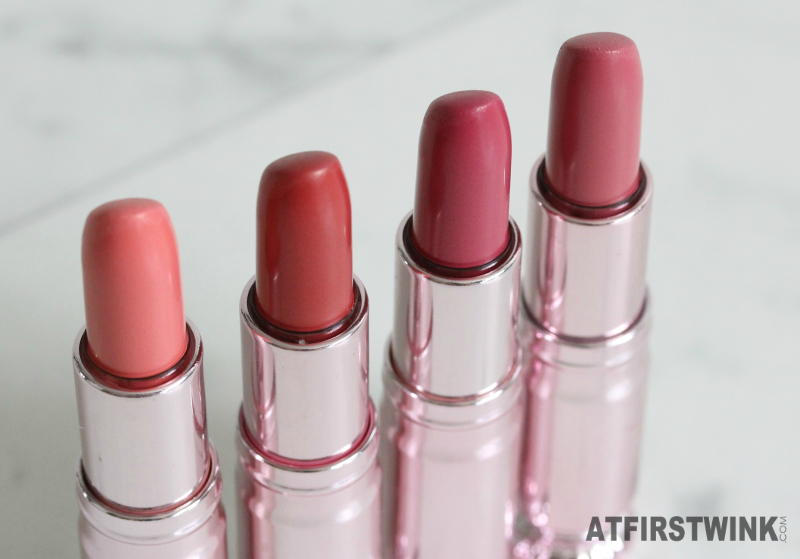 Peripera lipsticks 10, 15, 18, and 21 orange red pink fuchsia