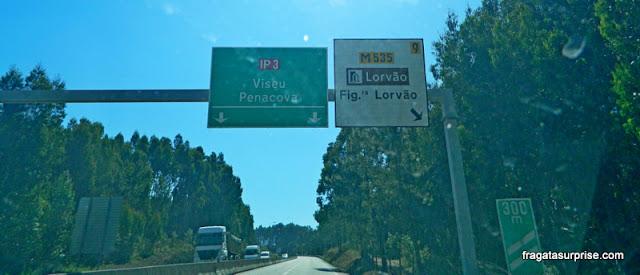 Sinalização de localidades históricas na  Estrada IP3, Portugal