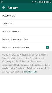 Screenshot WhatsApp-Nutzer-Account nach Zustimmung der Daten-Weitergabe an Facebook