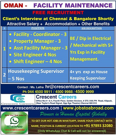 OMAN JOBS : REQUIRED FOR FACILITY CO IN OMAN – GCC JOBS FOR YOU