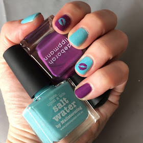nail art, Whats Up Kisses Nail Stencils, Picture Polish Salt Water By Nailstorming, Deborah Lippmann Maniac, nails, nail polish, nail varnish, nail lacquer, manicure