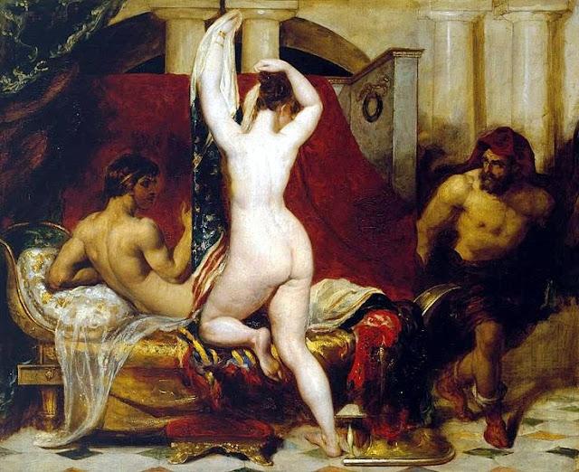 Lidya kralı Kandaules, karısının çıplak halini gizlice  Gyges'e göstermesi Tablonun yapılış tarihi 1830 ressam William Etty (1787–1849)