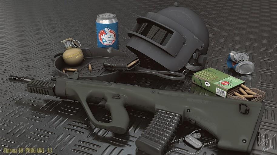 PUBG, Weapons, Rifle, Helmet, PlayerUnknown's Battlegrounds, 4K, #43