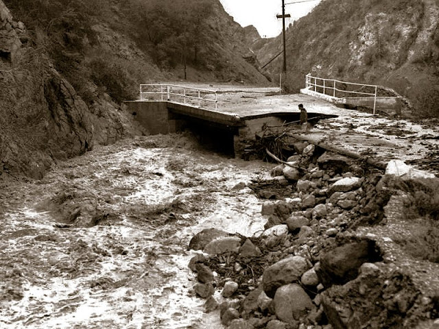 Photo of a bridge washout taken back in 1966. This canyon is constantly ravaged by flooding.