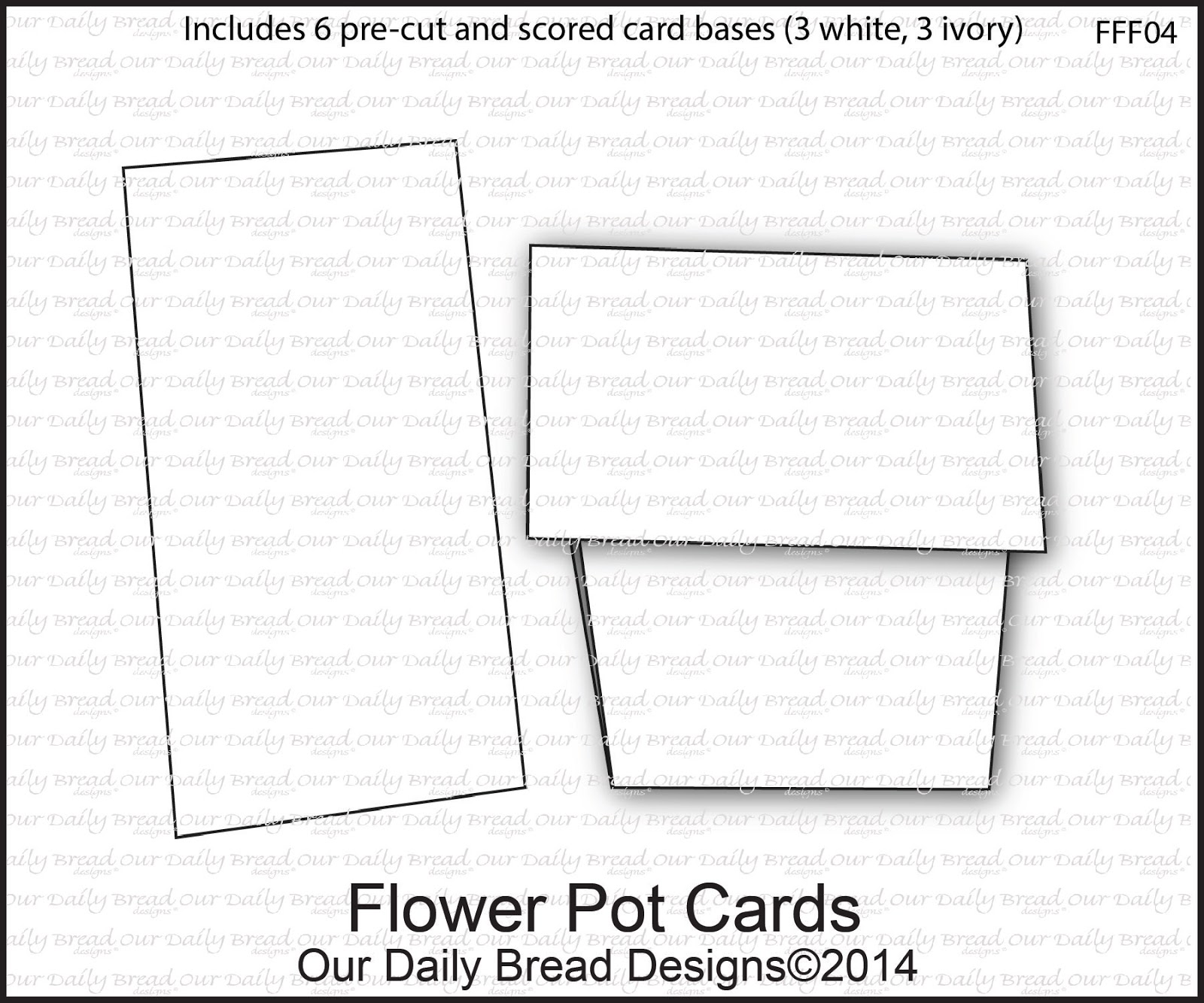 Our Daily Bread Designs Flower Pot Cards - Includes 6 pre-cut and scored card bases (3 White, 3 Ivory)