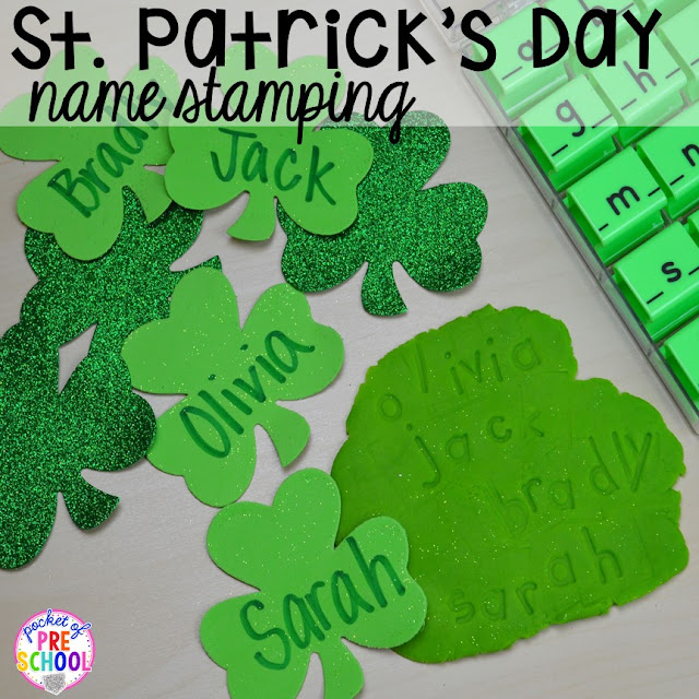 St. Patrick's Day name writing activity using letter stamps and play dough plus FREE ten frame shamrock cards for preschool, pre-k, and kindergarten.