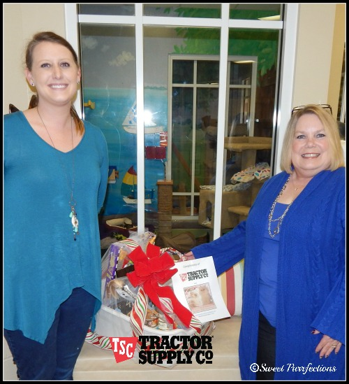 Mom Paula with one of the Pawmetto Lifeline employees and the #Tractor Supply gift basket