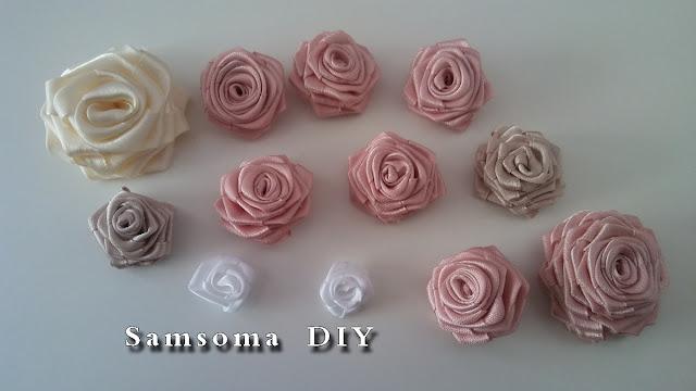 طريقة عمل ورود من الساتان //  عمل ورود ساتان . طريقة عمل ورد من شريط الساتان   .  DIY ribbon rose tutorial . DIY satin ribbon rose .  Diy ribbon rose . طريقة عمل ورد من الساتان  .  .DIY : How to make flowers from Satin Ribbon