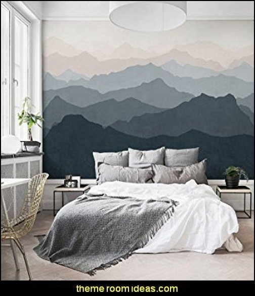 Mountain Mural Wall Art Wallpaper ski alps wall decal stickers - Swiss chalet mountain ski lodge murals weather themed bedroom decorating