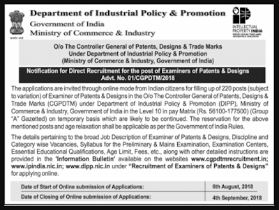 CGPDTM/ DIPP Examiner of Patents & Designs Syllabus & Previous Year Question Papers