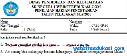 Soal PH Kelas 1 Tema 4 Subtema 2