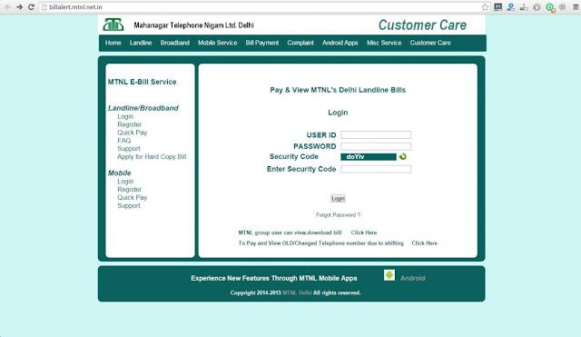 MTNL bill payment online Delhi