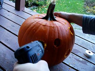 pumpkin with drilled holes, pumpkin mouse house, power tool pumpkin DIY