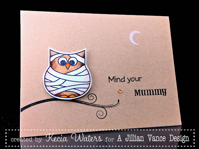 AJVD, Kecia Waters, Copic markers, owl, Halloween, mummy